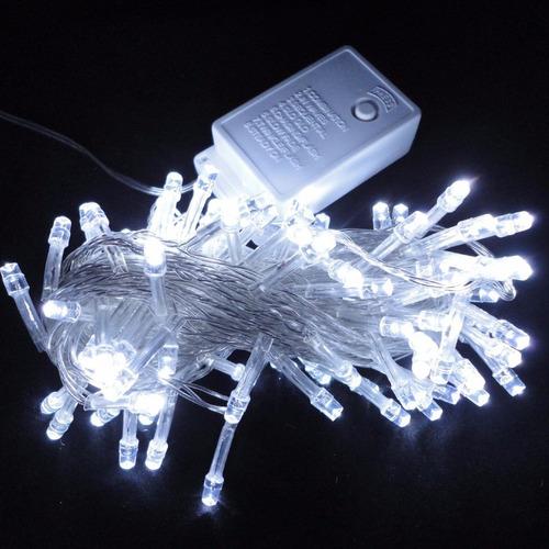 juego luces arbol navidad led light blanco x100 mimitoys