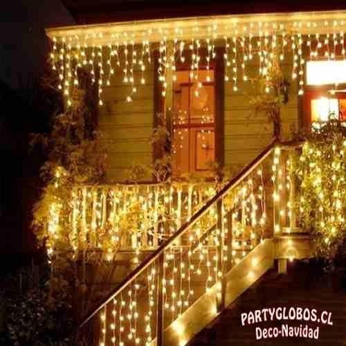 juego luces navidad cascada 200 led 5 mts blanco calido
