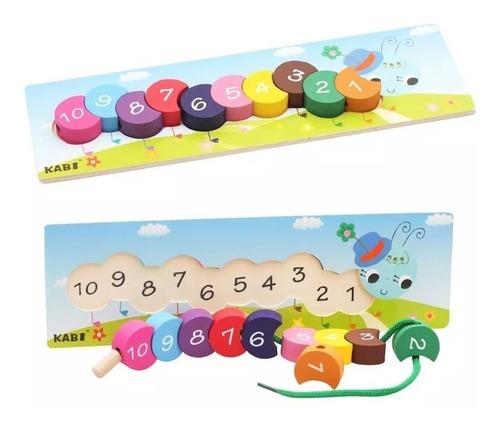 juego madera didácticos enhebrar juguete bebés y niños