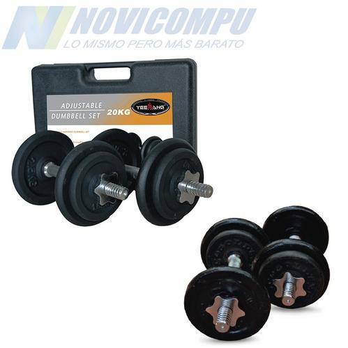 juego mancuernas con pesas 20 kg (43.6 lb.) gimnasio nuevas