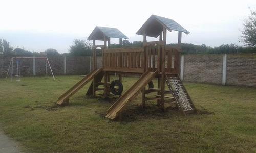 juego mangrullo madera tobogán  puente jardín infantes