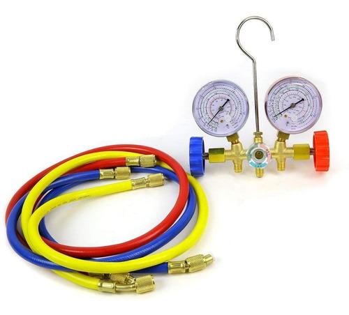 juego manómetros refrigeración r12 r22 r134a r502 aire acond