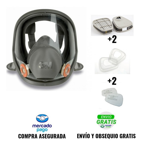 juego mascara full face antigas 6800 3m filtro fumigar spray