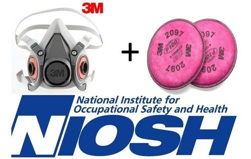 juego mascarilla 6200 3m con par filtro para humo polvo