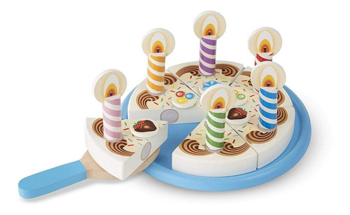 juego melissa & doug birthday party cake (madera) 34 piezas