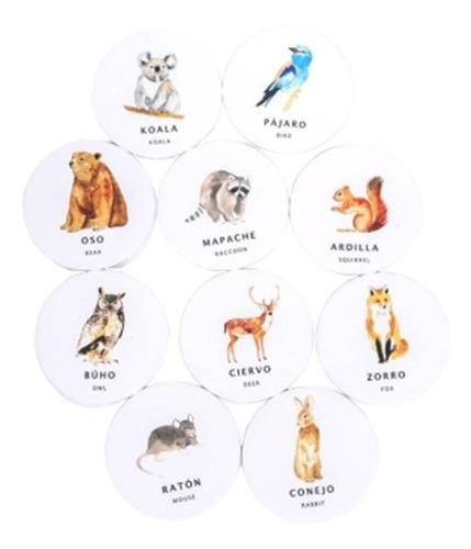 juego memoria memotest animales bosque 20 piezas ingles/cast