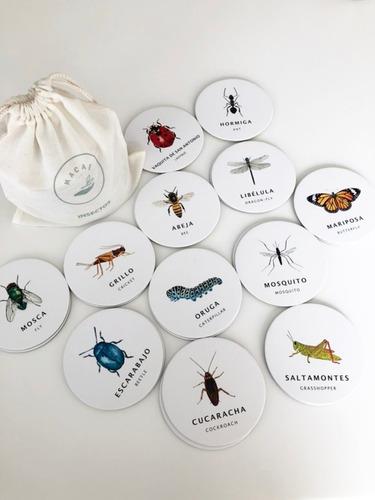 juego memoria memotest insectos bichos 24 piezas ingles/cast