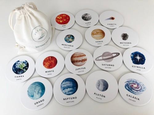 juego memoria memotest sistema solar 30 piezas ingles/cast