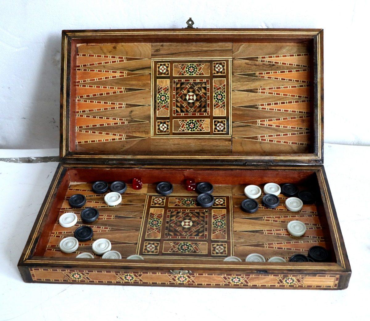 Juego Mesa Backgammon Marqueteria Antig La Rueda L R 2 500