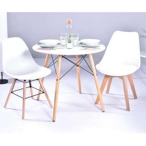 juego mesa comedor blanca redonda y 4 sillas  eames