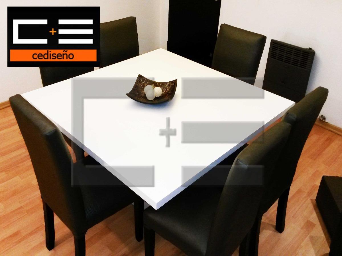 Juego Mesa Comedor Cuadrada Db 130x130 + 6 Sillas Ecocuero ...