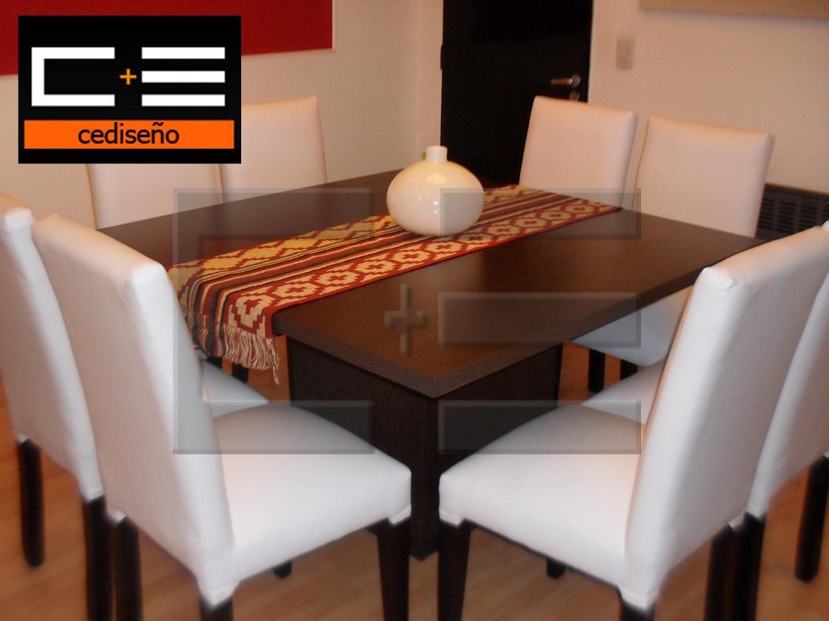 Juego Mesa Comedor Cuadrada Db 130x130 + 8 Sillas Ecocuero ...