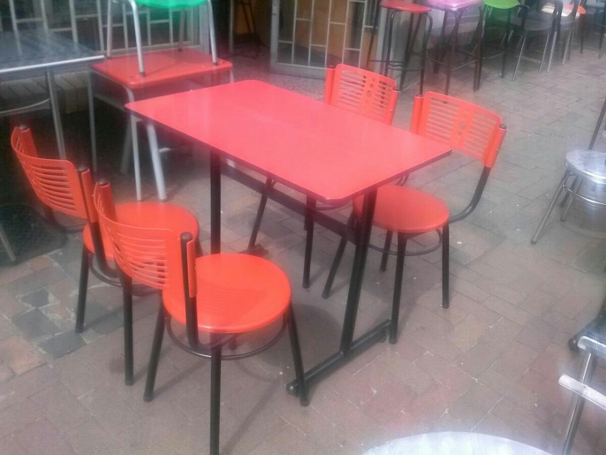 Juego mesa comedor madera y 4 sillas para restaurante bar for Sillas plasticas comedor