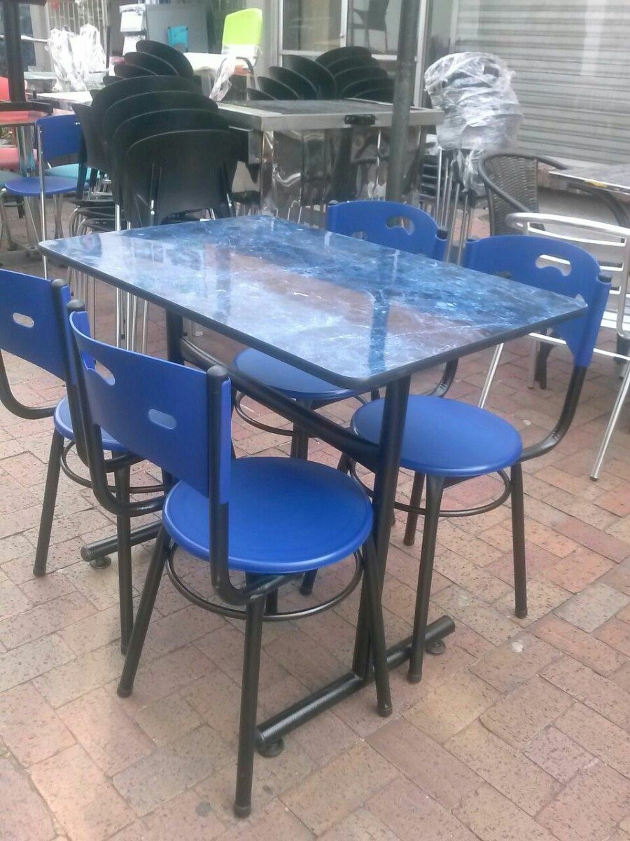 Juego mesa comedor madera y 4 sillas para restaurante bar for Muebles para cafeteria precios