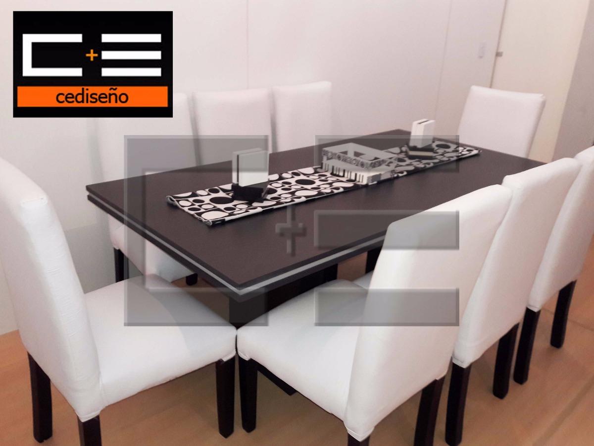 Juego Mesa Comedor Rectangular Tr 180x90 + 8 Sillas Ecocuero