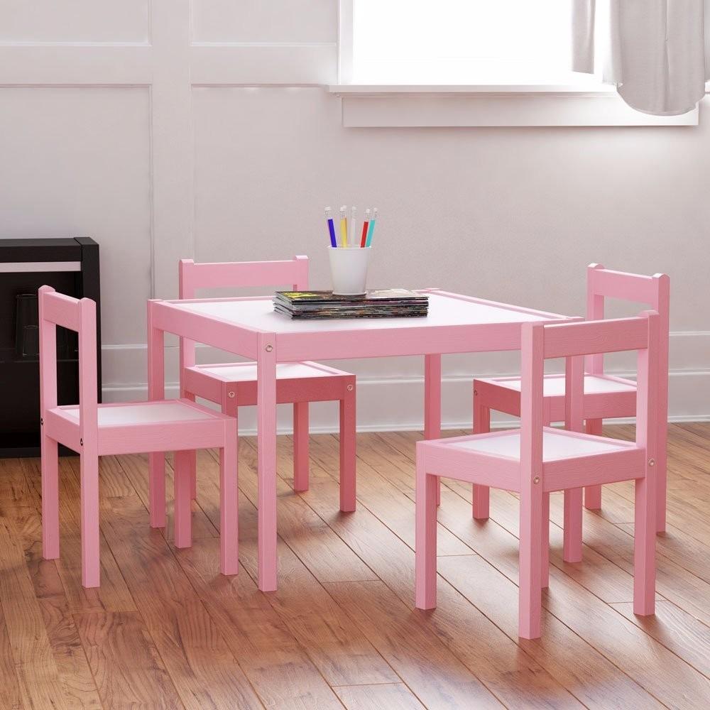 Juego mesa con 4 sillas sillita mesita infantil madera - Mesa infantil madera ...