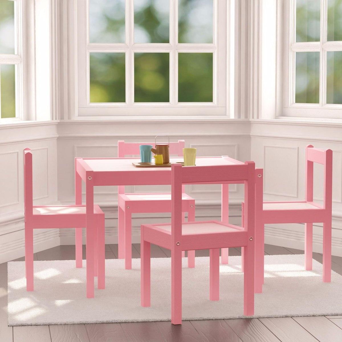 Juego mesa con 4 sillas sillita mesita infantil madera - Mesita con sillas infantiles ...