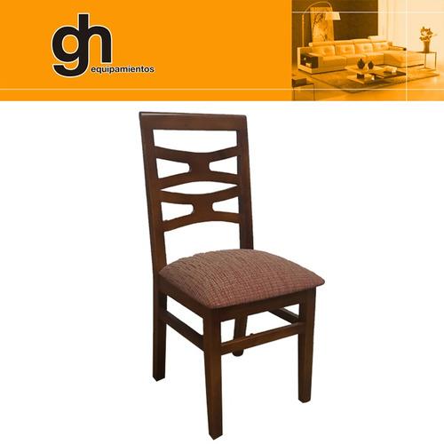 juego mesa con 6 sillas 100% macizas, tapizadas lustradas gh