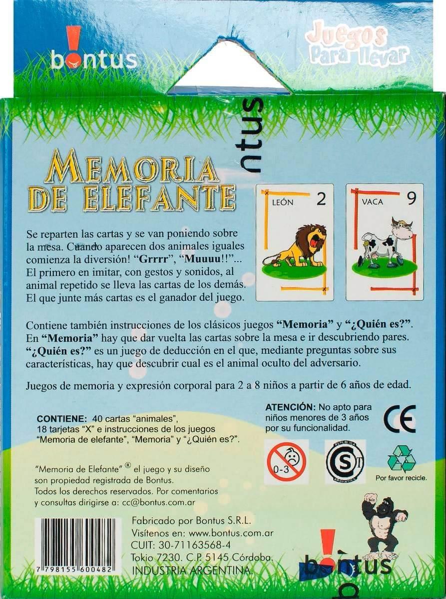 Juego De Mesa Memoria De Elefante 3 Juegos Gabym 80 00 En