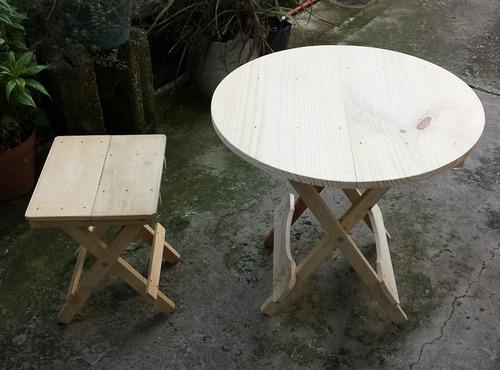 juego mesa plegable circular (60cm diám - 55 alto) y banco!