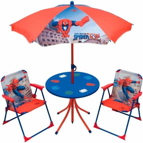 juego mesa sombrilla y 2 sillas cars spiderman casa valente