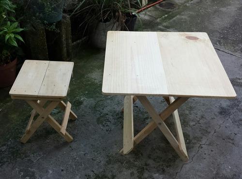 juego mesa y banco plegable cuadrada (60 cm - 55 alto)