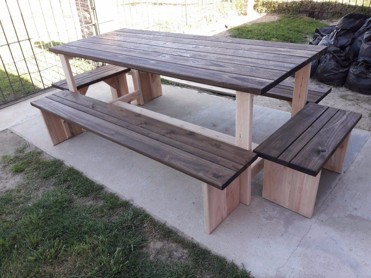 Bancos de madera rusticos ampliar with bancos de madera for Mesa banco madera jardin