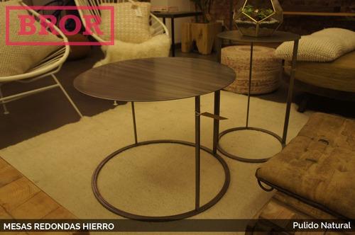 juego mesas hierro pulido redondas alta y baja. [bror]