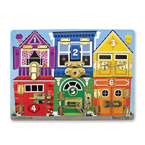 juego motricidad niños melissa & doug wooden latches board