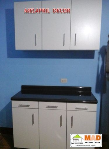 Juego mueble alacena cocina bajo y alto 120 cm melamine for Mueble alto cocina
