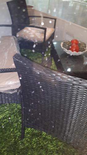 juego mueble jardín patio porche piscina mimbre sintético.
