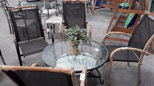 juego mueble silla mesa jardin porche patio piscina mimbre.