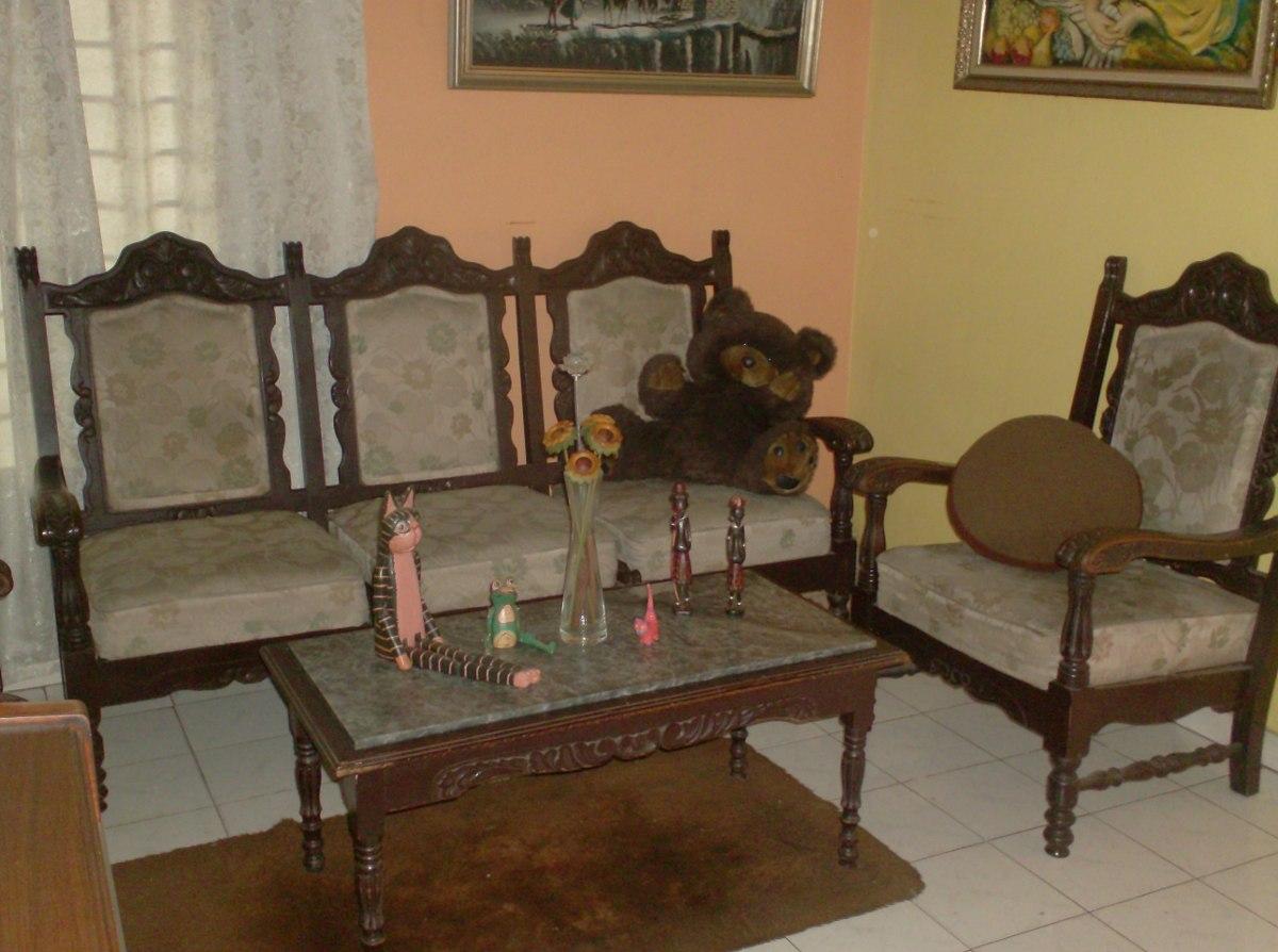 Juego Muebles De Madera Sala Recibo Palermo Antiguos Bs 40 500  ~ Como Limpiar Muebles De Madera Antiguos