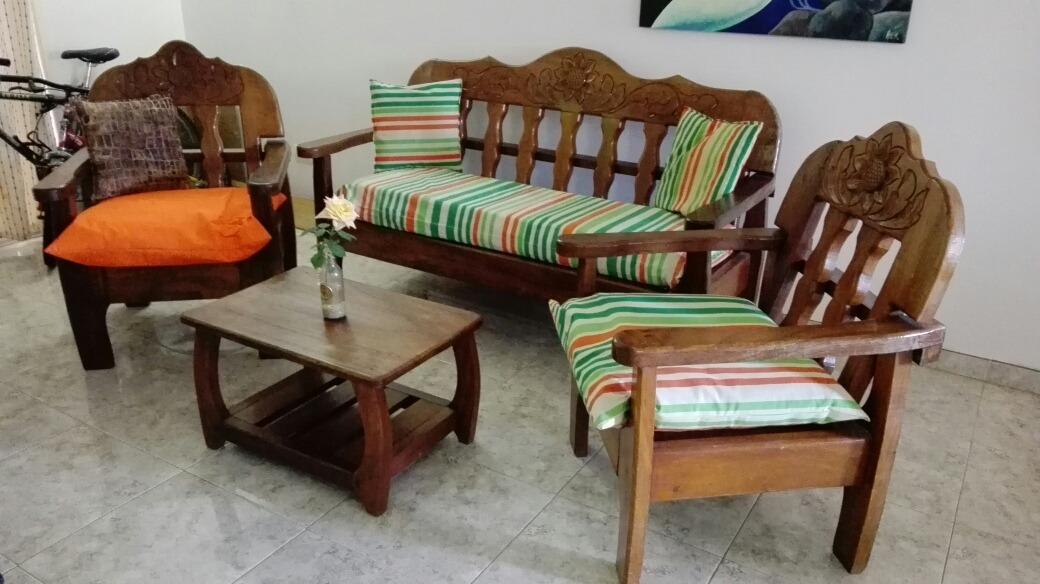 Juego muebles recibo madera saman magdaleno con cojines - Cojines para sillones de terraza ...