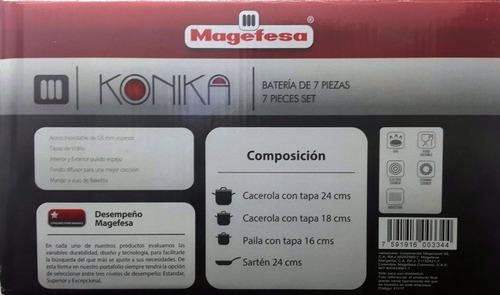 juego ollas magefesa 7 piezas acero inoxidable mod. konica
