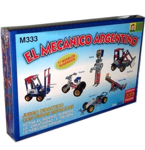 juego para armar metalico el mecanico argentino 333p. mecano