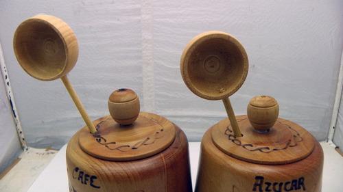 juego para azucar y café fabricado en madera decorado a mano