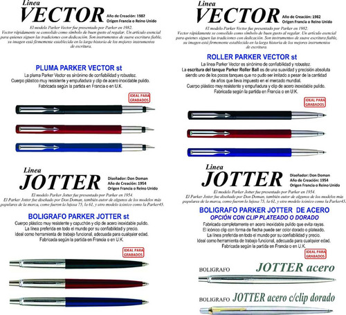 juego parker x 3 boligrafo jotter + roller + pluma vector