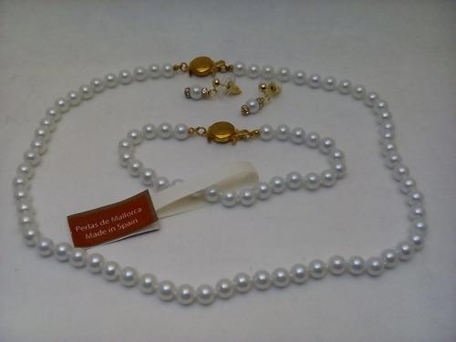 juego perla mallorca no.6 mm. largo 40 cms. blanco