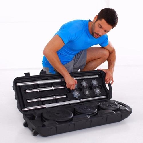 juego pesas mancuernas 50 kgs barra larga maletin discos gym