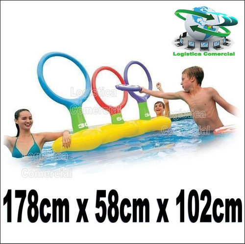 juego piscina aro flotador inflable + 3 platillos 56505