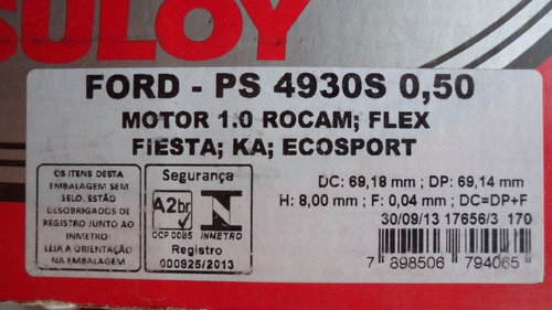 juego pistones motor c/perno s/aros ford 1.0l 8v flex zetec