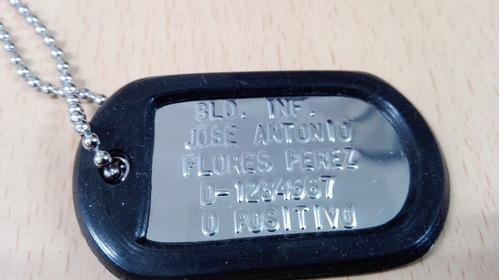juego placas identificacion militar dog tag relieve brillant