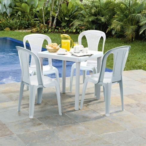 juego plastico 4 puestos rimax mesa y sillas color mocca