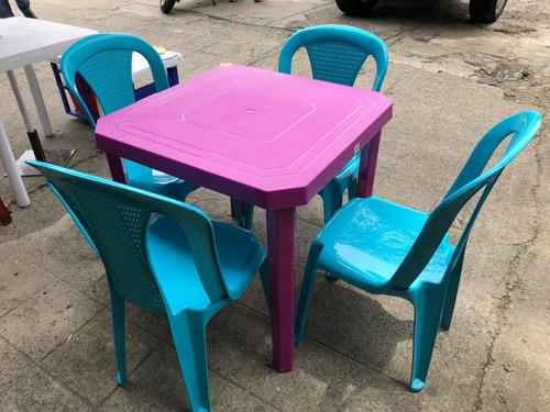 juego plastico mesa y sillas rimax cuatro puestos