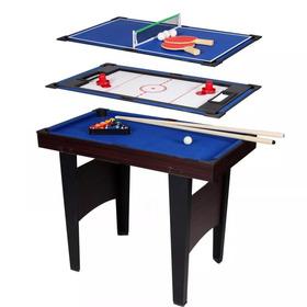Juego Pool + Tejo + Ping Pong Juego Mesa Niños 3 Juegos En 1