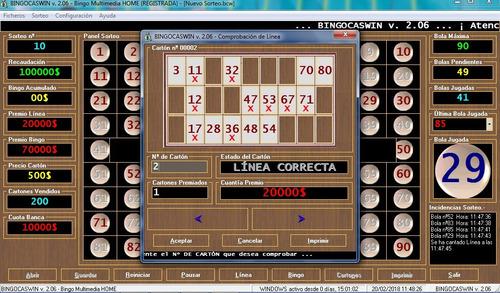 juego programa bingo bingocaswin profesional 4 en 1