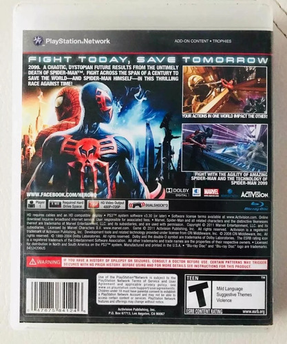 juego ps3 spiderman edge of time