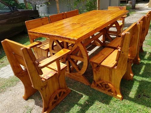 juego rustico de jardin, barbacoa , comedor y patio