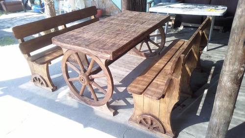 juego rustico de jardin de 8 sillas